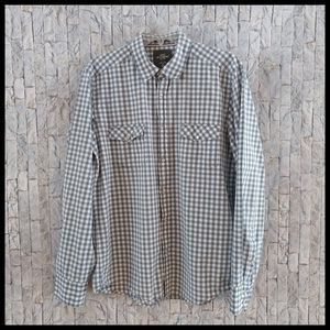 H&M Blue/ White Checked Snap Shirt - Size Large